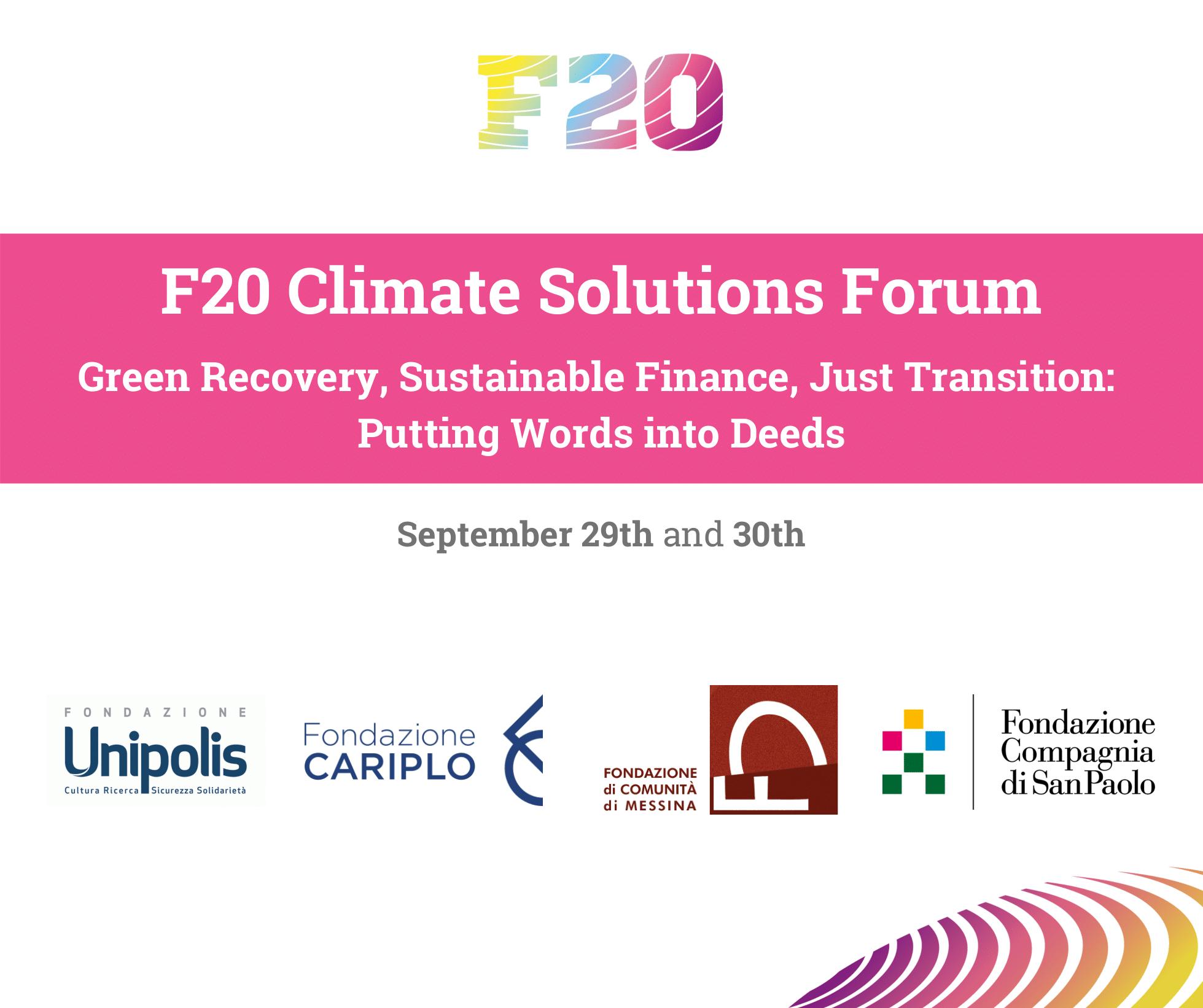 Climate Solutions Forum, 29 e 30 settembre. A Milano ci saremo anche noi